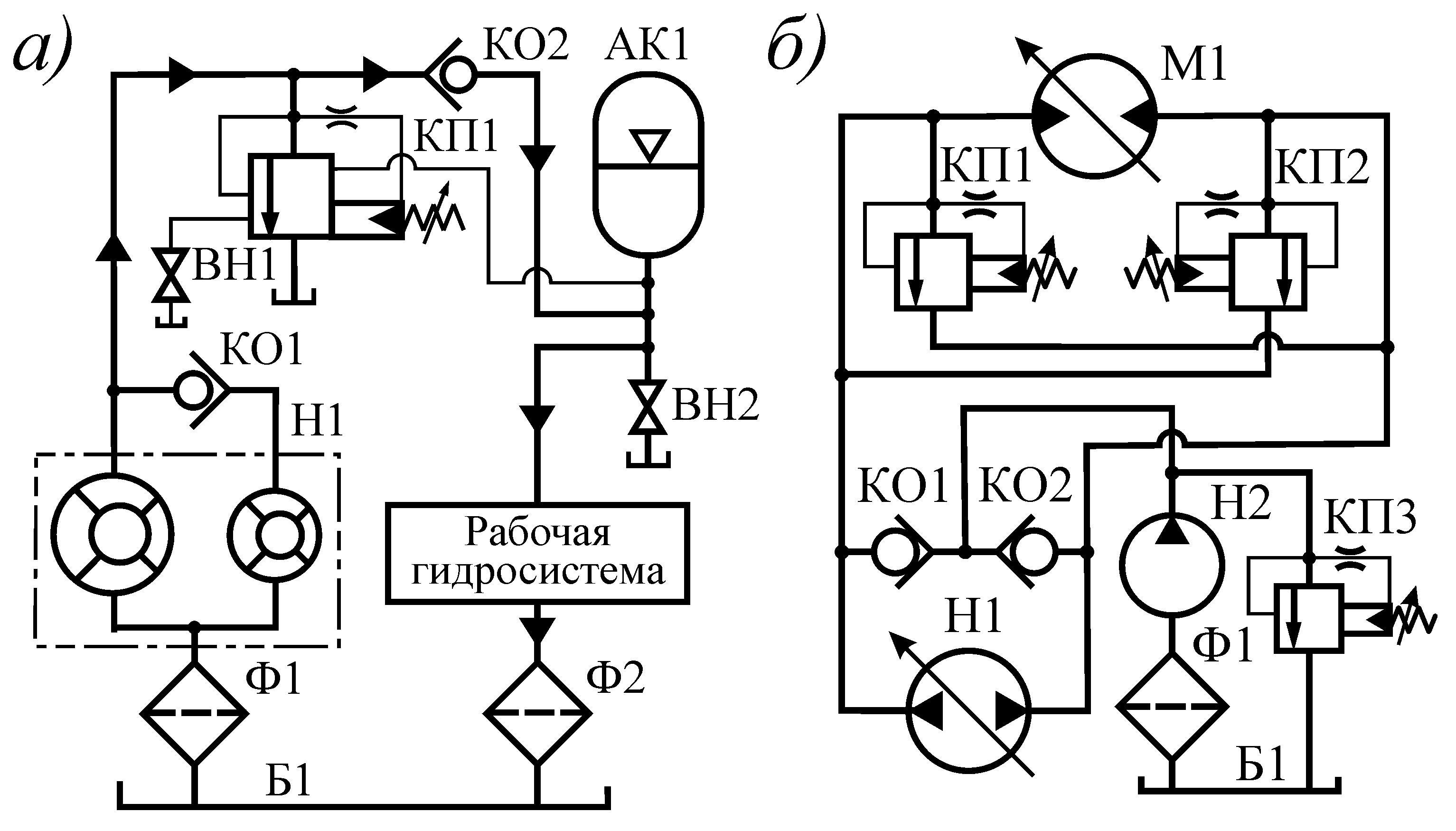 схема гидропривода с двумя гидромоторами
