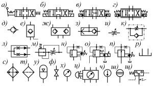 Условные графические обозначения аппаратов гидроустройств